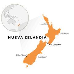 Nueva Zelandia riba un mapa di mundo