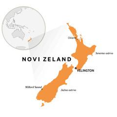 Novi Zeland istaknut na mapi