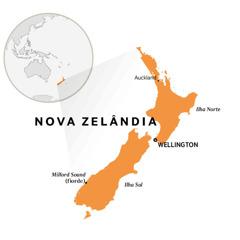 Um mapa-múndi mostrando a Nova Zelândia