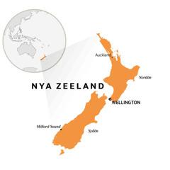 Nya Zeeland på en världskarta.