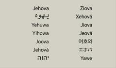 Emri i Zotit, Jehova, në gjuhë të ndryshme