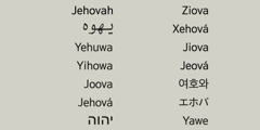 God's name Jehovah in various languages