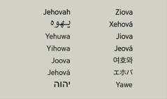 様々な言語で表わした,神様の名前エホバ