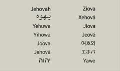 다양한 언어로 표기된 하느님의 이름 여호와