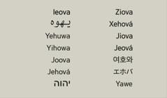 O le suafa o le Atua, o Ieova i gagana eseese