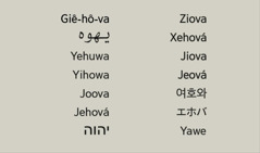 Danh Đức Chúa Trời, Giê-hô-va, trong nhiều ngôn ngữ