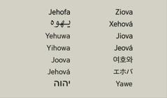 Enw Duw, Jehofa, mewn gwahanol ieithoedd