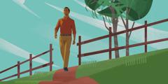 رجل يمشي على طريق