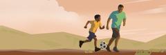 En far er ude at spille fodbold med sin søn
