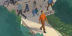 A man walks away from a crowd