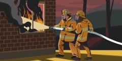 Ett par hjälps åt för att släcka en brand.