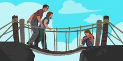 娘に近づくため,両親がつり橋を渡っている。