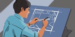 Un jeune homme dessine un plan