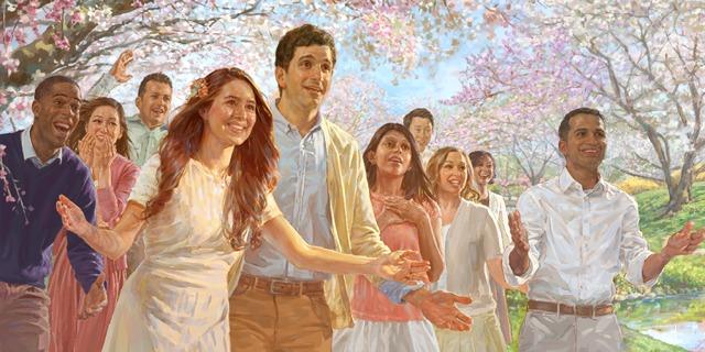 Personas en el Paraíso esperando para dar la bienvenida a sus seres queridos cuando resuciten
