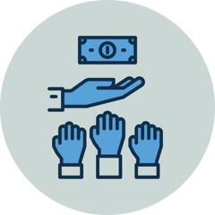 Muchas manos intentando agarrar el dinero