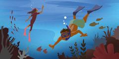 Twee Menschen schwamen unja Wota