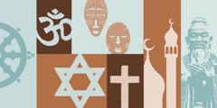Symboles religieux représentant le bouddhisme, l'hindouisme, les religions tribales, le judaïsme, la chrétienté, l'islam et le confucianisme.