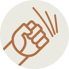 Pictogramme représentant un poing serré, en symbole de la maltraitance.