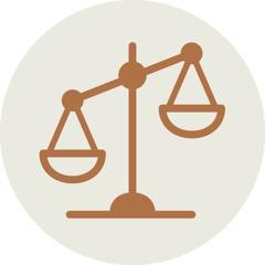 Pictogramme représentant une balance déséquilibrée, en symbole de l'inégalité sociale.