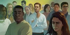 Um homem em pé no meio de pessoas de raças diferentes.