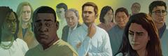 Տղամարդը շրջապատված է տարբեր ռասաների պատկանող մարդկանցով