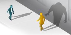Zwei Männer begegnen sich. In der Vorstellung des einen verzerrt sich der Schatten seines Gegenübers zu einer unheimlichen Gestalt.