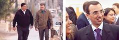 Serie de imágenes: 1. Dos hombres caminando y hablando. 2. Uno de ellos sonriendo rodeado de amigos.
