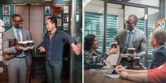 Fotografias: 1.Um homem asiático segura a porta a um homem negro com copos descartáveis de café na mão. 2.O mesmo homem negro dá copos de café aos seus colegas de trabalho, incluindo a mulher indiana já mencionada.