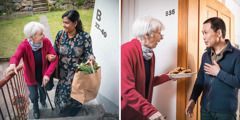 Collage: 1.An older Caucasian woman being helped by an Indian woman up the stairs with her groceries. 2.The older Caucasian woman brings cookies over to her neighbor, the Asian man depicted earlier.