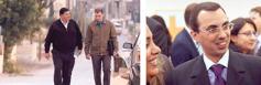 Serie de imágenes: 1. Unhombre árabe caminando y hablando con otro hombre. 2. Unhombre judío sonriendo rodeado de amigos.