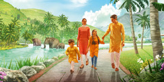 A family walking happily together through a beautiful park.