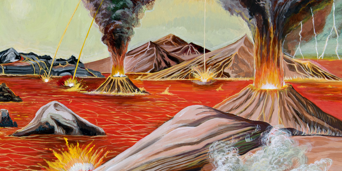 The primitive planet Earth covered with ocean, rocks, and volcanoes