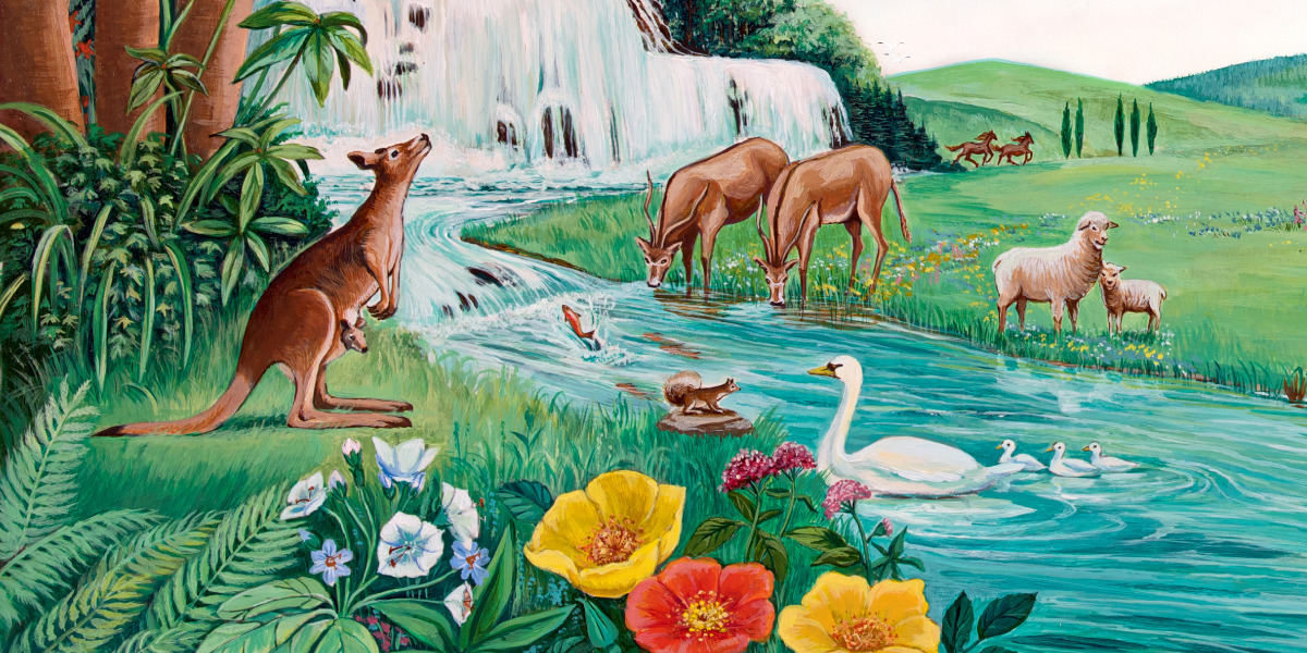 Animals, flowers, trees, and a waterfall in the beautiful garden of Eden