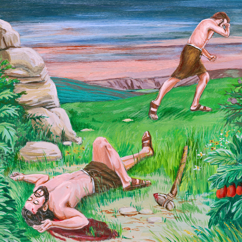 Cain walks away after killing Abel