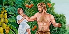 En kæmpe der skal til at slå en anden mand