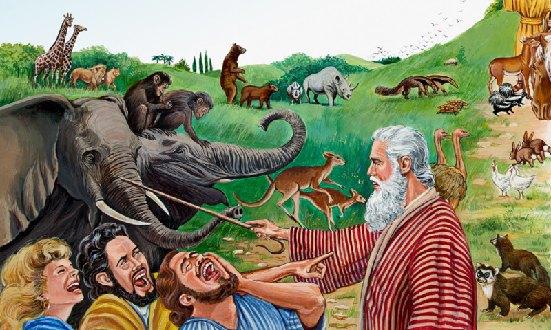 People laugh at Noah when he tries to warn them of the coming flood