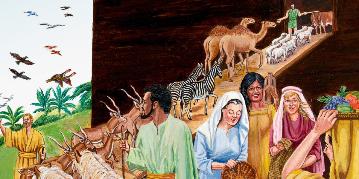 Noah and his family bring animals and supplies into the ark