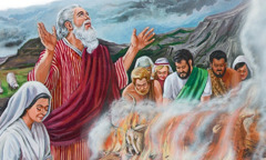 Noah and his family making a gift offering to thank Jehovah