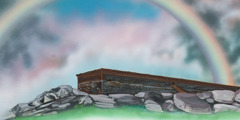 The first rainbow in the sky, Noah's ark settled on dry land