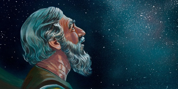 Abraham looking up toward the starry heavens & Abrahamu2014Friend of God | Bible Story