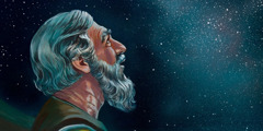 Abraham looking up toward the starry heavens