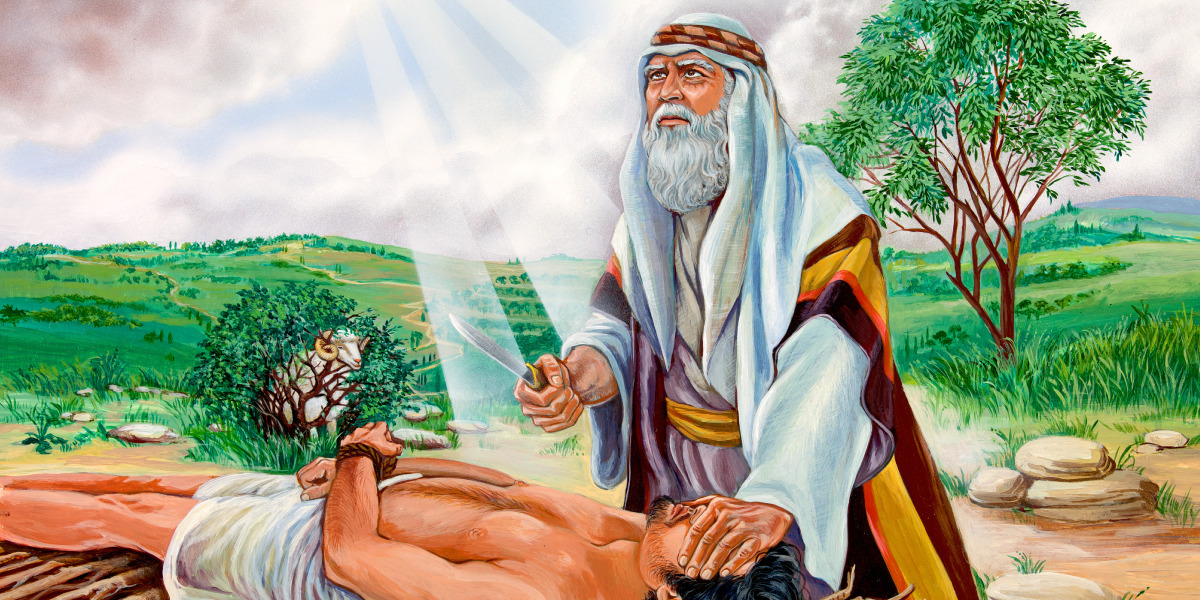 Abraham prepares to sacrifice Isaac; a sheep is caught in some nearby bushes
