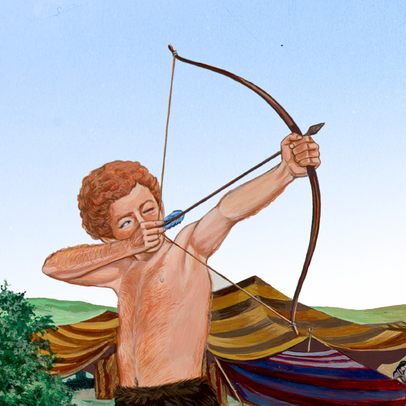 Young Esau aims to shoot using his bow and arrow