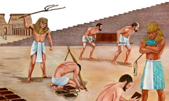 Israelite slaves being mistreated and beaten by Egyptians