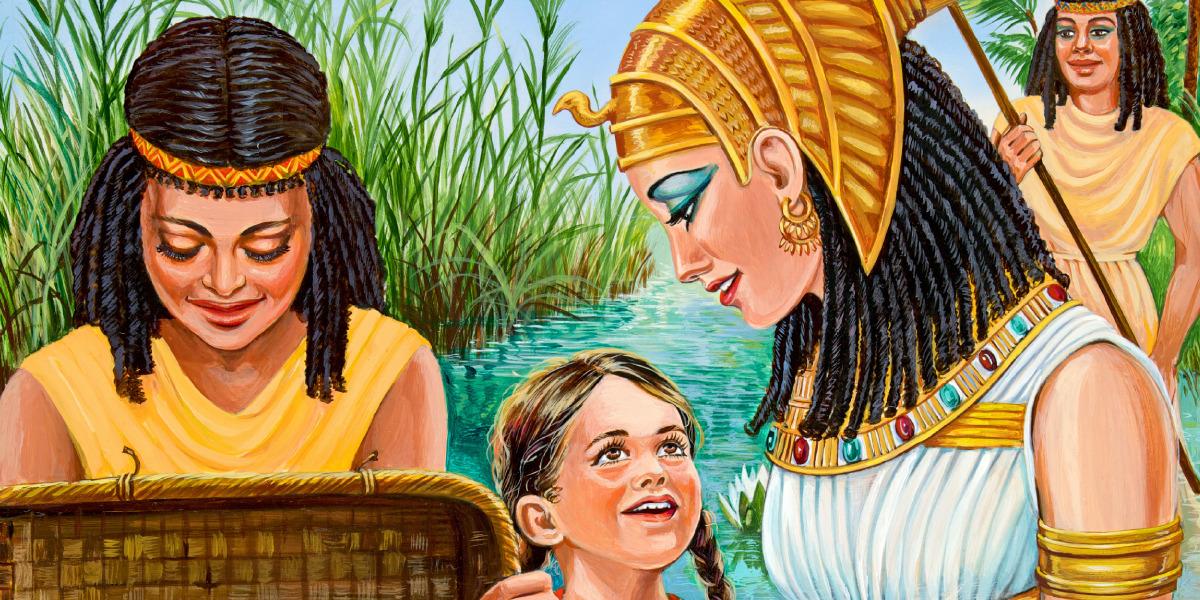 Moses' sister Miriam talking to Pharaoh's daughter