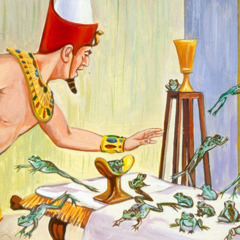 Pharaoh waves his hands to get the frogs off his bed during the second plague
