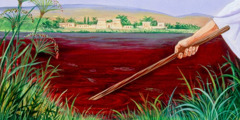 The Nile River is turned into blood, the first plague