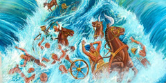 The waters of the Red Sea come back down over Pharaoh and the chariots of Egypt