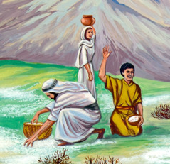 Israelites collecting manna