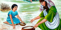 An Israelite mother and son picking up manna